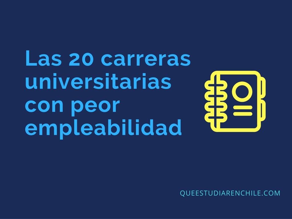 Las 20 carreras universitarias con peor empleabilidad en Chile